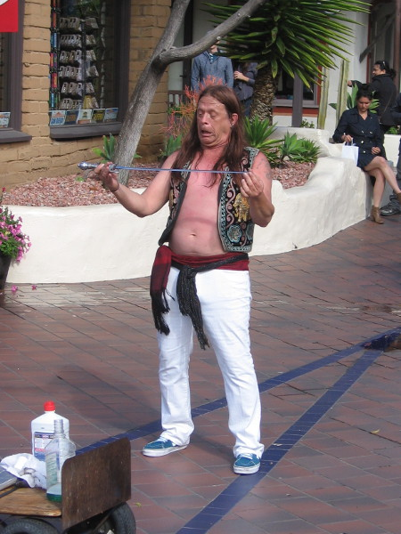 The second act was sword swallowing. Murrugan the Mystic is one of the very few true sword swallowers in the world.