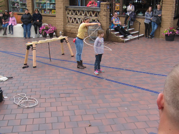 Molly Keczan includes lasso rope tricks in her fun The Farmer's Daughter Show.