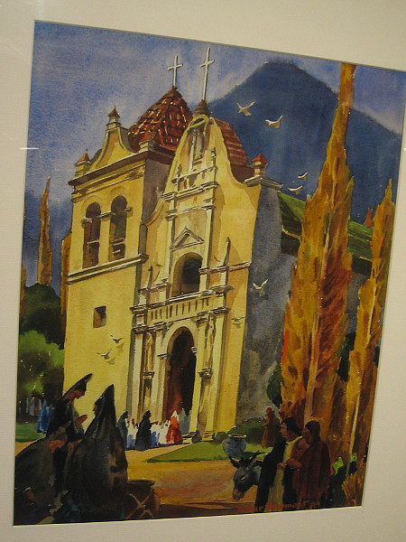 A painting of a California Mission, watercolor on paper, 1949. The Irvine Museum Collection.