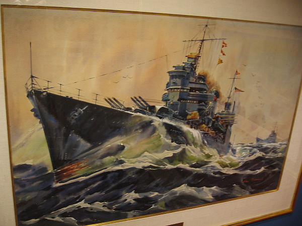 Heavy and Light Cruisers Range Far to Scout or Fight; USS Astoria and USS Phoenix, watercolor on board, 1941. The Irvine Museum Collection.