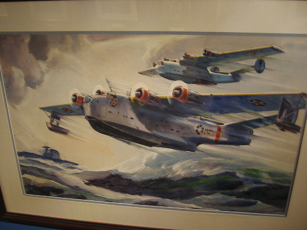 Navy Sea Planes, watercolor, 1941. The N. Arthur Astor Family Trust.