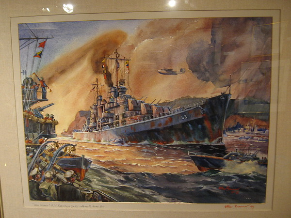War Weary USS San Diego Returns to Home Port, watercolor, 1967. The Hilbert Museum.