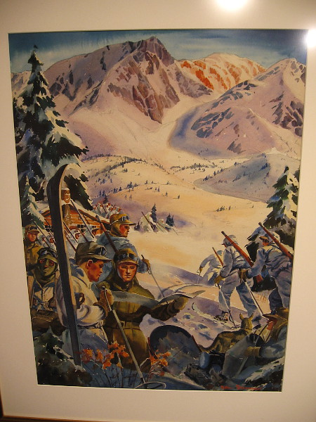 Snow Field Training, watercolor, 1942. Catherine Campbell Beaumont Collection.