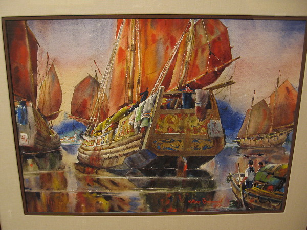 Chinese Junk Boat, watercolor, 1963. Robert Dreibelbis Collection.
