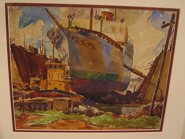 Stella Polaris, Howard Hughes' yacht, watercolor, 1935. The Los Angeles Maritime Museum.