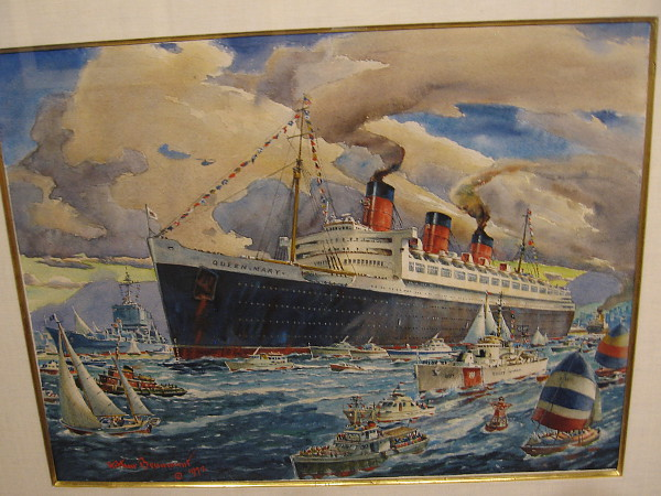 The Last Voyage of the Queen Mary, in the company of the USS Long Beach, watercolor, 1972. Catherine Campbell Beaumont Collection.