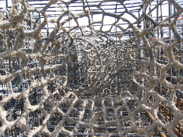 I aim my camera through stacked lobster traps.