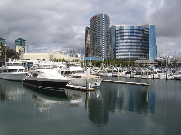 The silvery Marriott Marquis and Marina.
