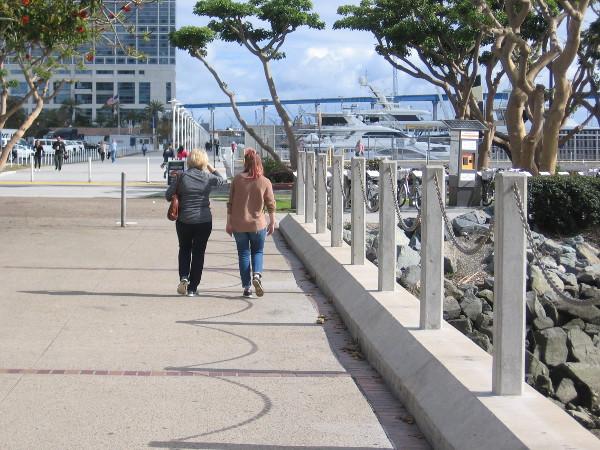 Walking along.
