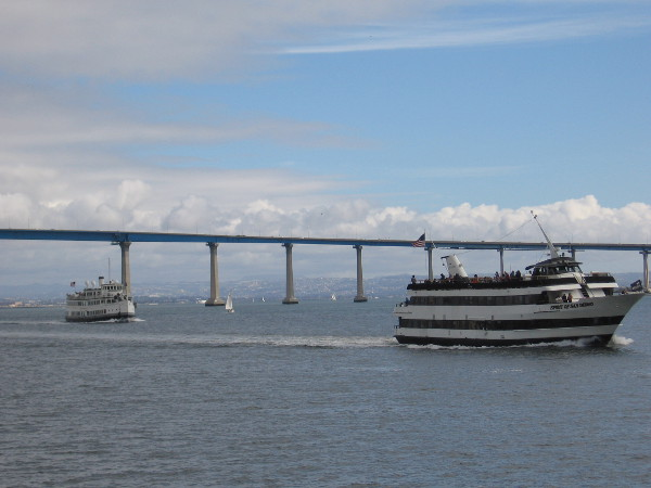 Here come Spirit of San Diego and Admiral Hornblower. Both are coming from South Bay on a harbor tour.