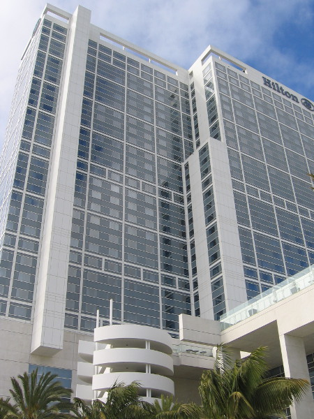 A look up at the Hilton San Diego Bayside from the side that faces away from downtown.