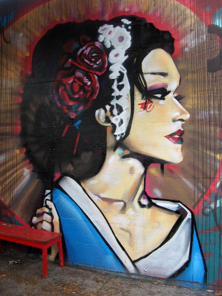 A beautiful new face has replaced a similar mural between Adams Avenue Tattoo and the El Zarape restaurant.