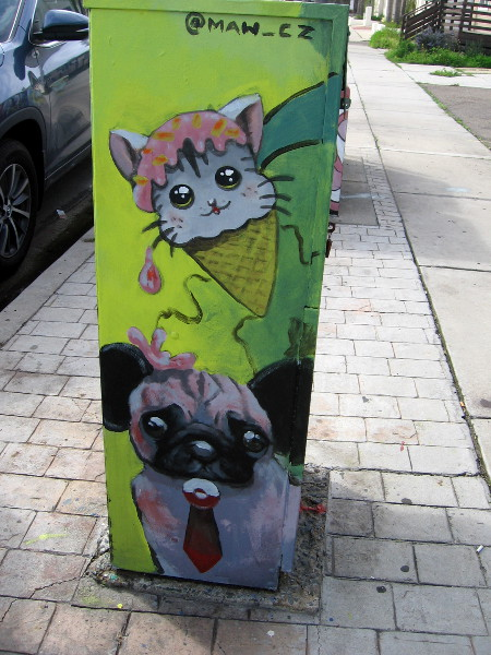 An ice cream cone cat drips on a tie-wearing dog! @MAW_CZ