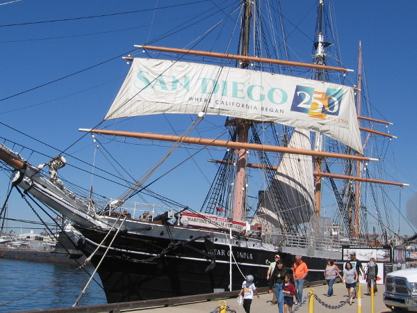 Huge banner on sail of Star of India celebrates the 250th Anniversary of San Diego!
