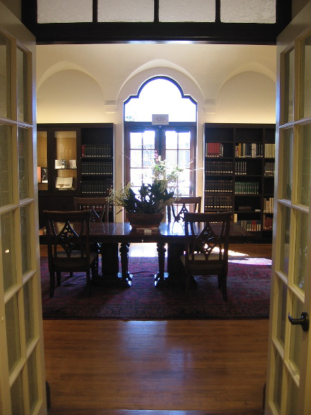Gazing into the North Reading Room, which features Athenaeum's Erika and Fred Torri Arists' Books Collection.