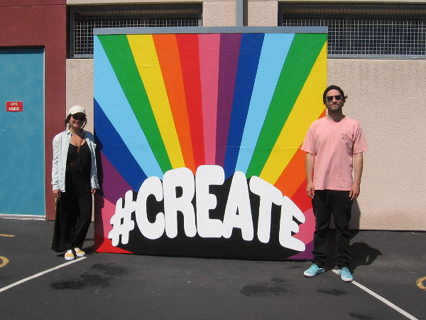 Thao Huynh and Kolten French of Mindful Murals encourage school kids to #CREATE with a super colorful interactive mural!