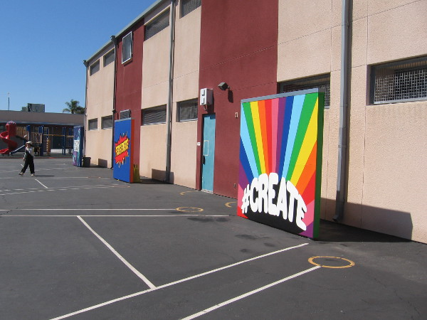 Two of the Mindful Murals recently painted in the playground of Edison Elementary School in San Diego's City Heights neighborhood.