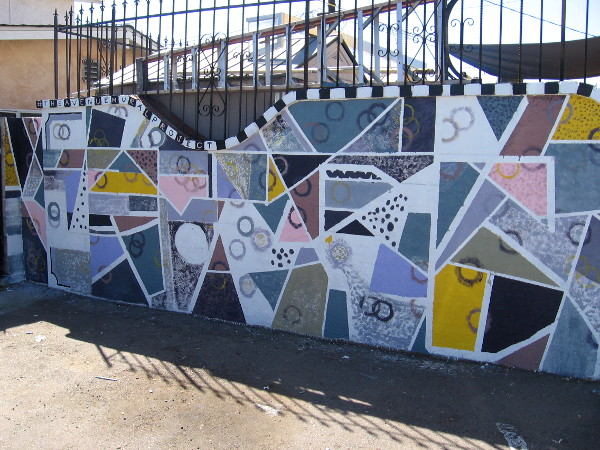 This abstract mural is titled UnPerfect, by Walker Matthews, Carlos Quezada and Edwin Lohr.