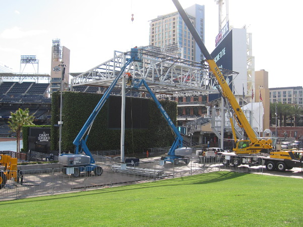 Great progress is being made in erecting the new permanent concert stage in the Park at the Park.
