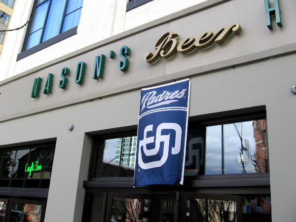 Various restaurants and bars in East Village and the Gaslamp Quarter are putting up Padres banners and posters.