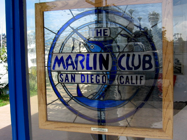 I spotted this cool stained glass panel in a window of The Marlin Club.