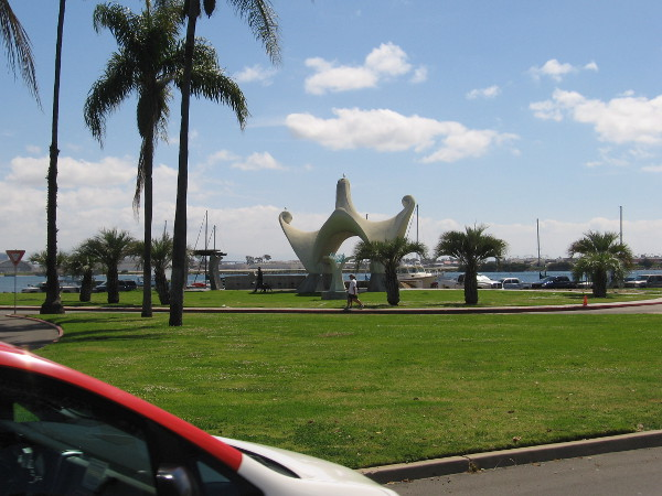 As I approach San Diego Bay, I see the Pacific Portal sculpture by local artist James T. Hubbell.