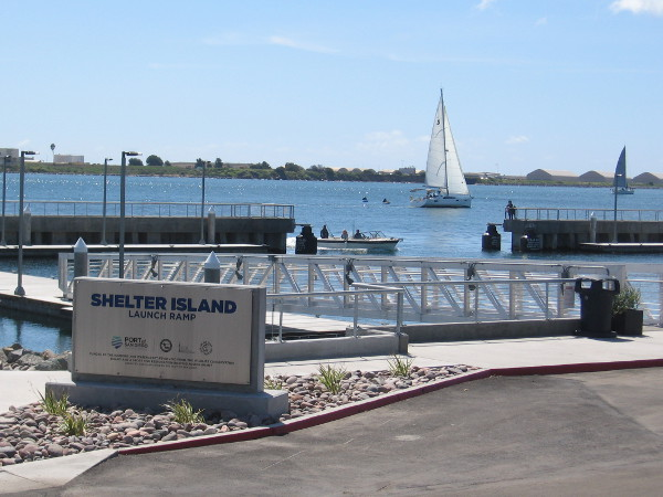 I've arrived at the recently improved and enlarged Shelter Island Launch Ramp. Many recreational watercraft enter San Diego Bay here.