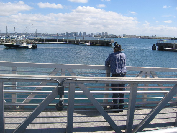 Looking across the boat launch basin, the San Diego downtown skyline in the distance.