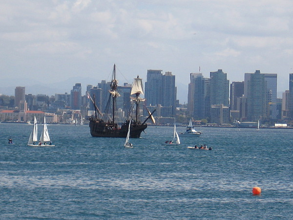 Look! Here comes San Salvador, the Maritime Museum of San Diego's amazing Spanish galleon replica!