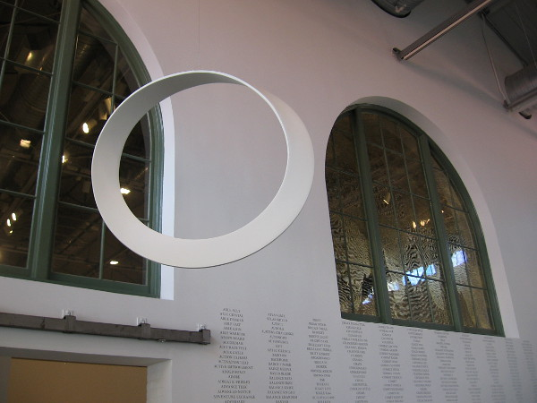More artwork by the large arched windows of the old baggage building. This interior wall is part of MCASD's unique Iris and Matthew Strauss Gallery.