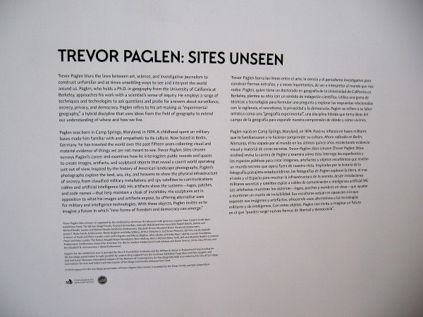 Sign at MCASD explains the current exhibition Trevor Paglen: Sites Unseen. (click to enlarge)