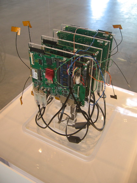 Autonomy Cube, 2015, Trevor Paglen. Working hardware that allows users to connect anonymously to the internet, by routing Wi-Fi traffic through the Tor network.
