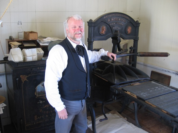 I'm given a small tour of the print shop inside the historic San Diego Union Building.
