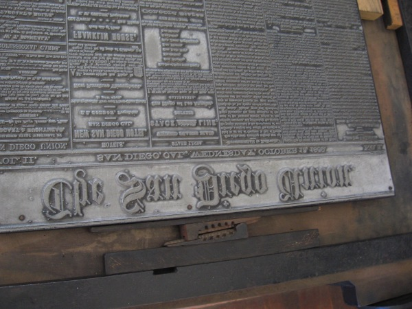 Part of a large plate in the Washington hand press. Today school students often visit the historic print shop to learn about publishing long before the digital age.