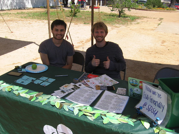 These guys represent Green Love, an environmental organization of the Associated Students at San Diego State University.