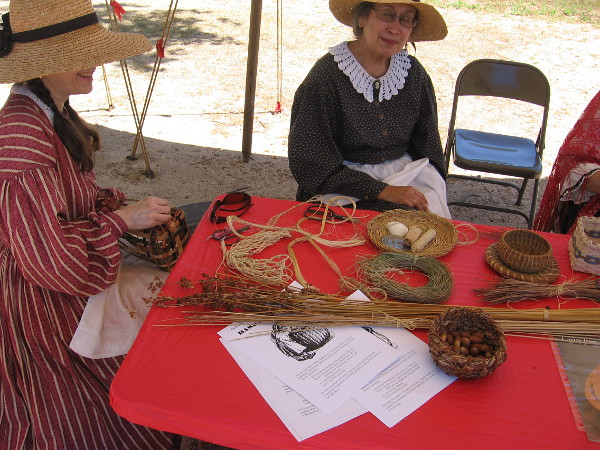 Friendly ladies of the Old Town Basketry Guild demonstrate their craft.