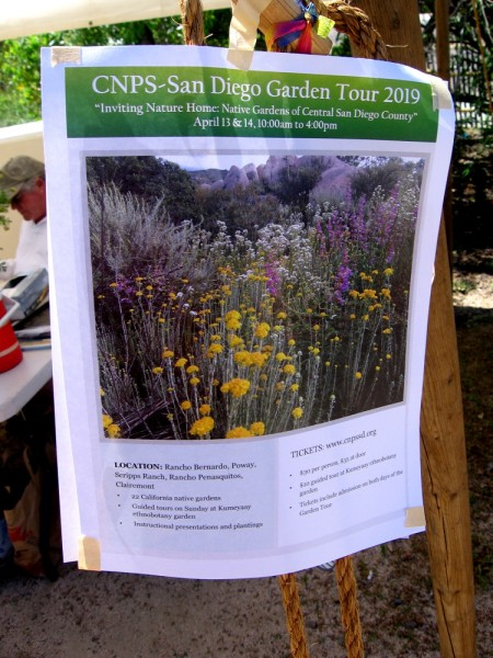 Flyer provides info concerning the California Native Plant Society's San Diego Garden Tour 2019.
