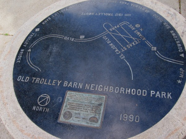 Map of the old 1917 trolley line from downtown San Diego into University Heights in Old Trolley Barn Neighborhood Park.