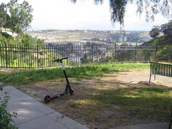 This scenic spot in Trolley Barn Park overlooks Mission Valley.