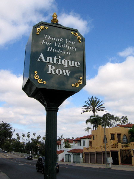 Sign on Adams Avenue marks the west end of Historic Antique Row.