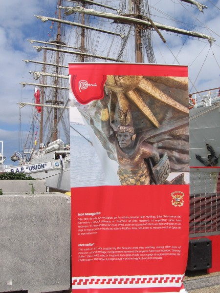Sign explains the BAP Unión's figurehead, which represents emperor Túpac Inca Yupanqui, who led a fleet of rafts on a voyage of exploration across the Pacific Ocean.