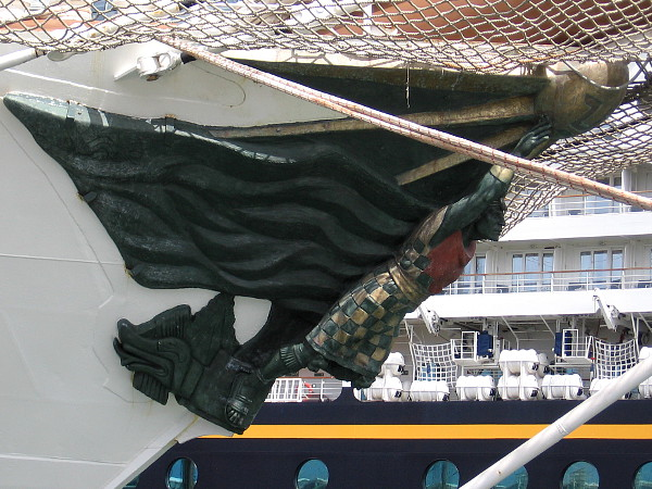 The bronze figurehead was sculpted by Peruvian artist Pilar Martínez.