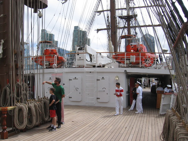 On the main deck of BAP Unión, near the aft mainmast and its many ropes.