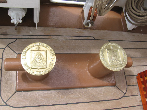 Artistic metalwork can be found all over the perfectly maintained tall ship, including these medallion-like designs.