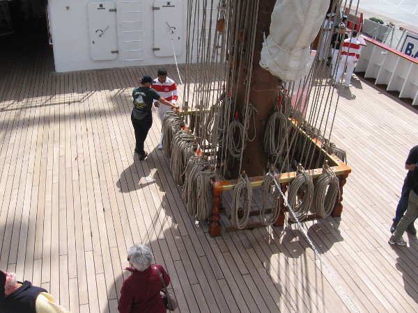Looking back down at the wooden deck around the aft mainmast.