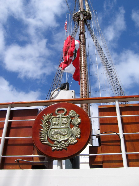 Mounted above the ship's bridge is Peru's proud coat of arms.