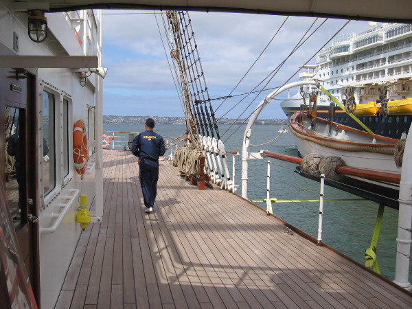 Walking past the bridge toward the stern of BAP Unión.