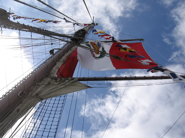 Looking straight up into the San Diego sky at the billowing flag of Peru.