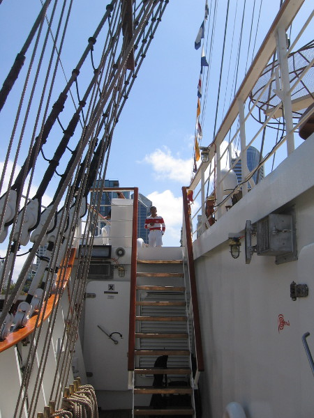 Another flight of steps leads toward the ship's bow.