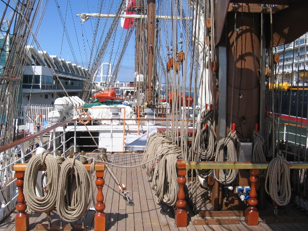 Looking backward across the upper deck of the picturesque Peruvian tall ship.